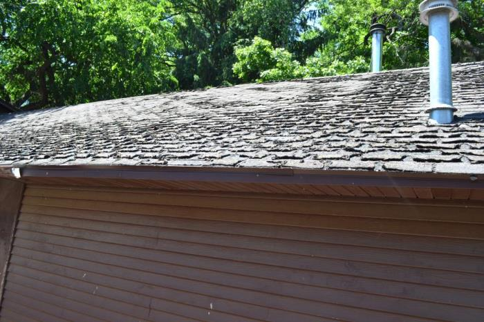 The chimney leaks during spring thaw and rainstorms. The roof needs shingling, ventilation needs improvement, the electrical wiring is outdated, some plumbing has failed and concrete floors are cracked.