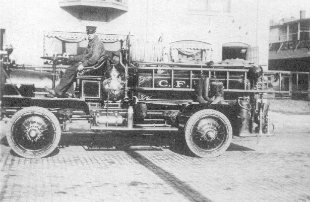 This was the first motorized apparatus of the Chippewa Falls Fire Department. Chicago bicycle manufacturer Thomas Jeffery bought a vacant plant in Kenosha, Wisconsin to build his new Rambler automobile in 1900. By 1917 he had sold 102,856 cars and trucks. This plant was bought by Charles Nash in 1917 and later became an American Motors plant and finally in 1987 a Chrysler Corporation plant.